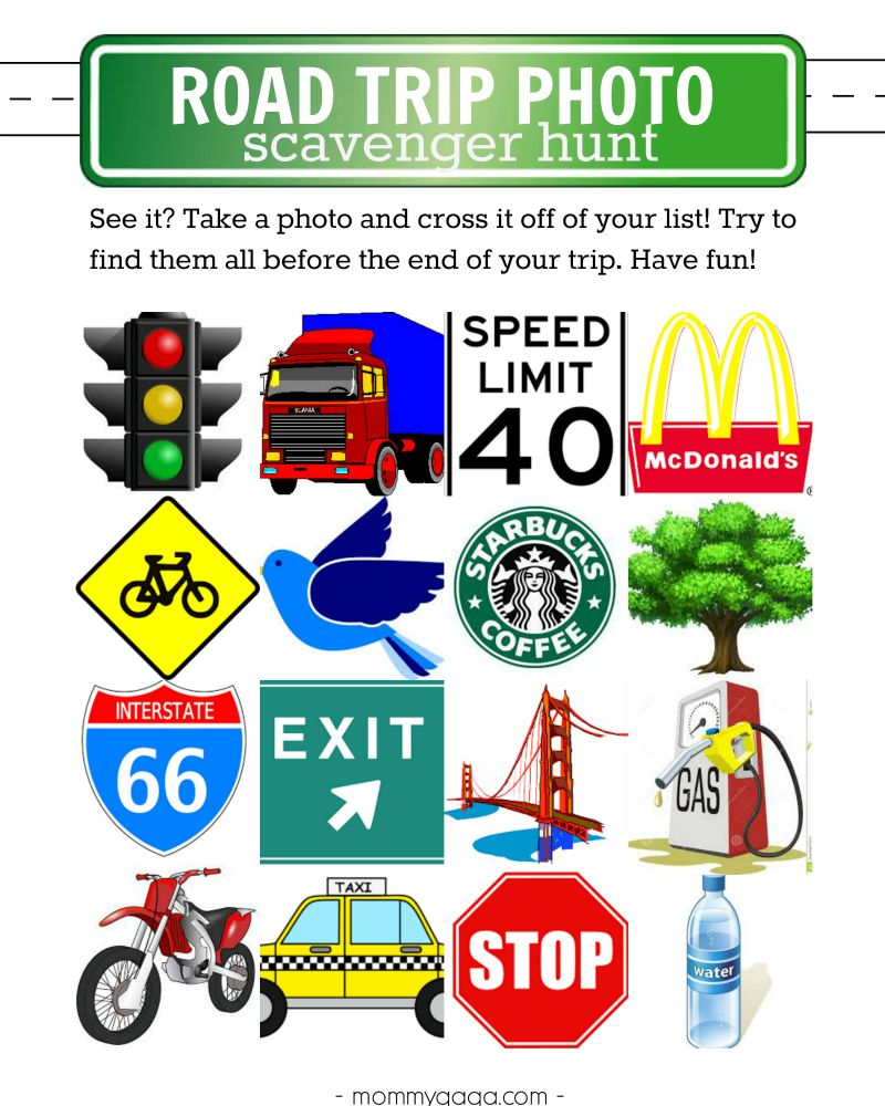 Free printable road trip photo scavenger hunt - so much fun and a great way to keep the kids entertained in the back seat!