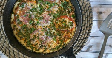 Soy Chorizo and Herb Skillet Frittata with Heirloom Tomato