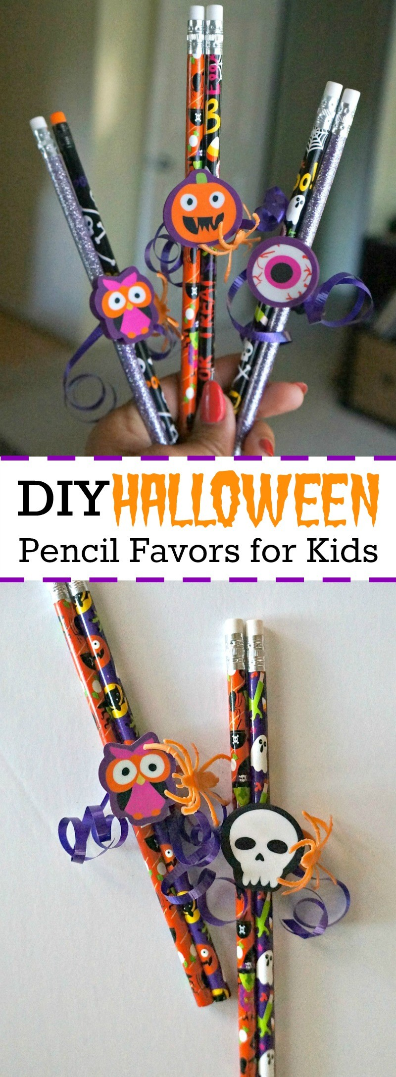 DIY Halloween Pencil Favors: Easy No-Candy Halloween Treats for ...