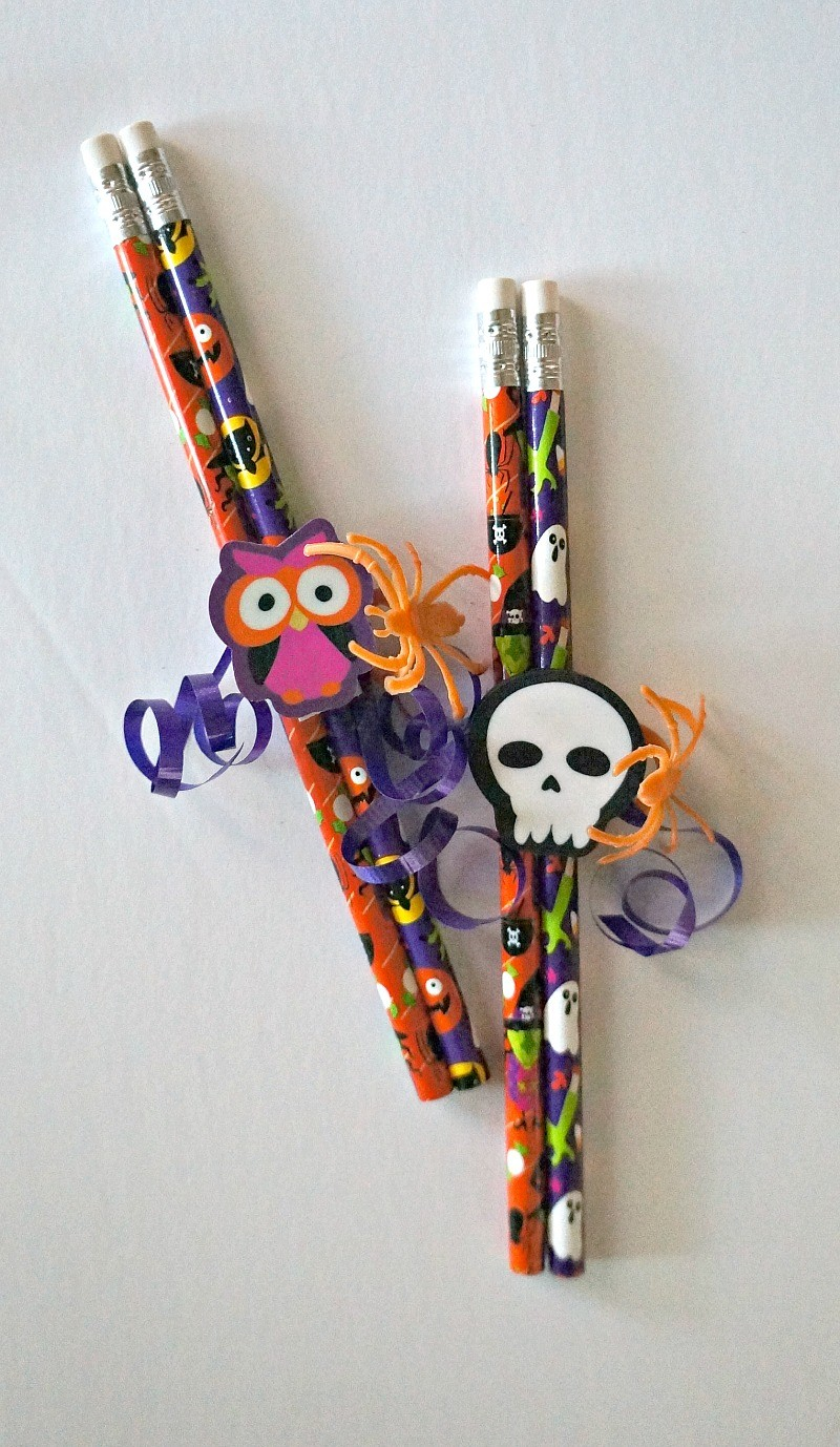 fun candy free treats diy halloween pencil favors for kids perfect for classroom parties - Diy Halloween Favors