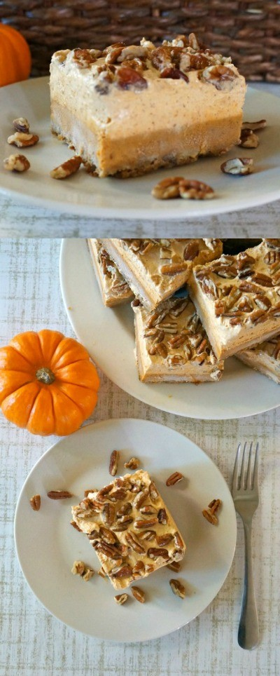 Easy Pumpkin Chiffon Pie Bars with Pecans - Love This Pumpkin Dessert, pumpkin pie bars are the best! pumpkin pie squares | easy pumpkin bars | easy pumpkin pie recipes | pumpkin spice recipes | cool whip pumpkin chiffon pie | best pumpkin pie recipe | honeyandlime.co