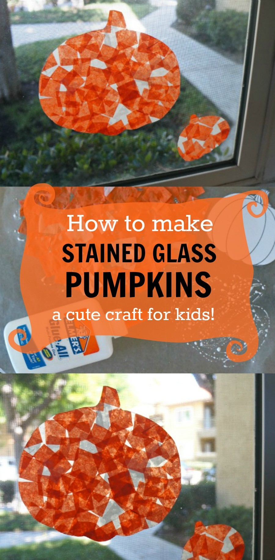 Pumpkin Stained Glass Tissue Paper Craft for Kids - honeyandlime.co | pumpkin suncatcher | stained glass pumpkins | tissue paper pumpkins | diy stained glass crafts | pumpkin crafts for preschoolers