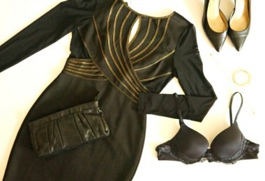 Winter red carpet ready with long sleeved black and gold dress, Lily of France lace bra, clutch and pumps