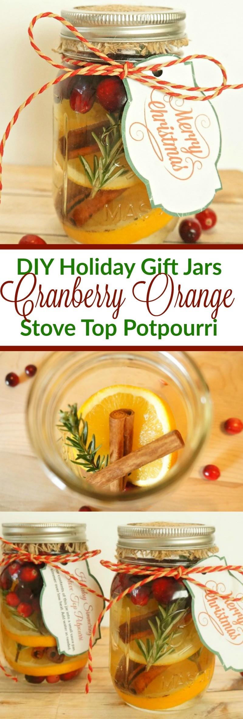 DIY Holiday Gift Mason Jars - How To Make Cranberry Orange Stove Top Potpourri
