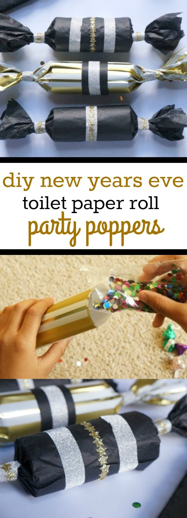 Learn how to make your own DIY new years eve party poppers, these are so cute! Happy New Year!