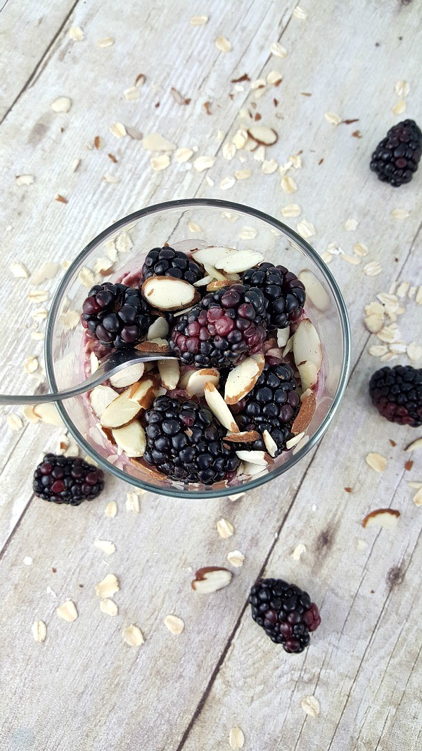 Blackberry Smoothie Overnight Oats, a healthy breakfast recipe idea
