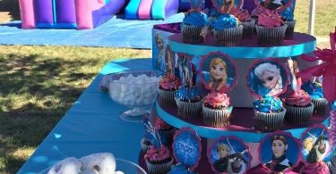 Frozen-Birthday-Party-Ideas-homemade-cupcake-tower-and-Frozen-jumper