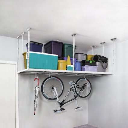 Garage ceiling mounted storage rack