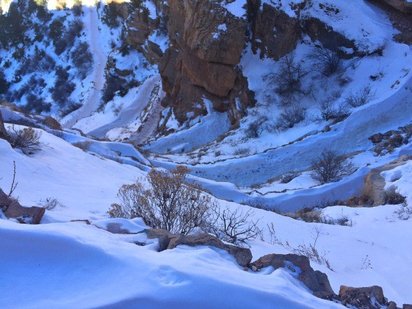 Grand Canyon Road Trip, looking down on a snowy canyon