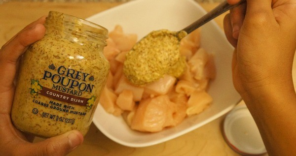 Making bacon wrapped chicken bites with Kraft Foods Grey Poupon Country Dijon Mustard