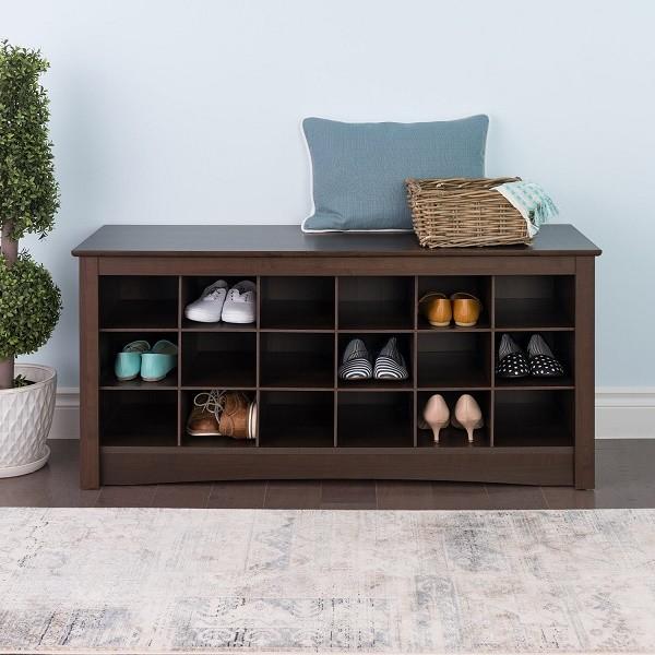 Prepac Espresso shoe storage cubby bench foyer