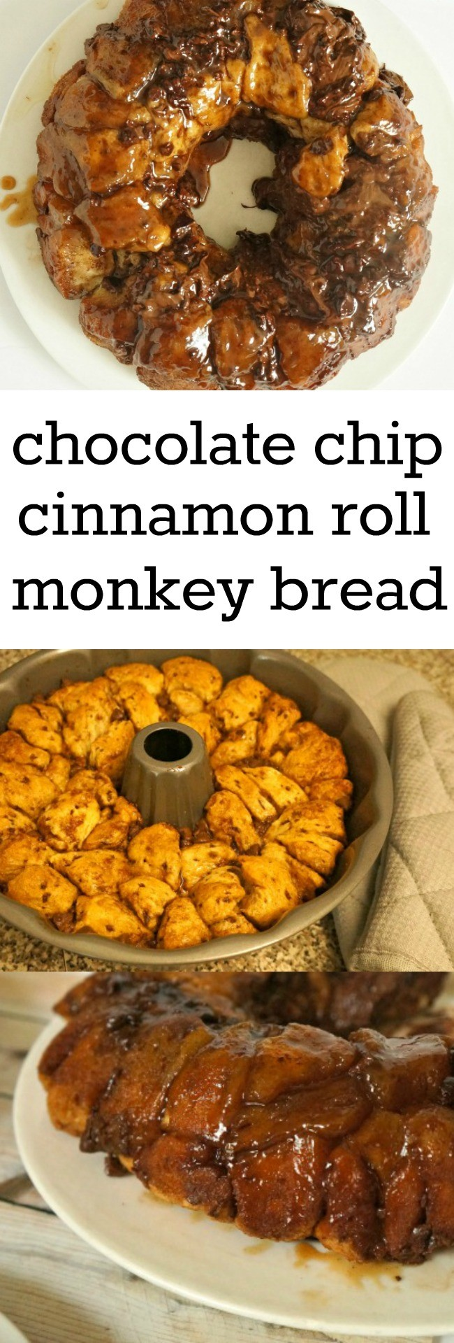 Chocolate chip cinnamon roll monkey bread recipe. I am totally making this, sounds like it's an easy dessert to make!