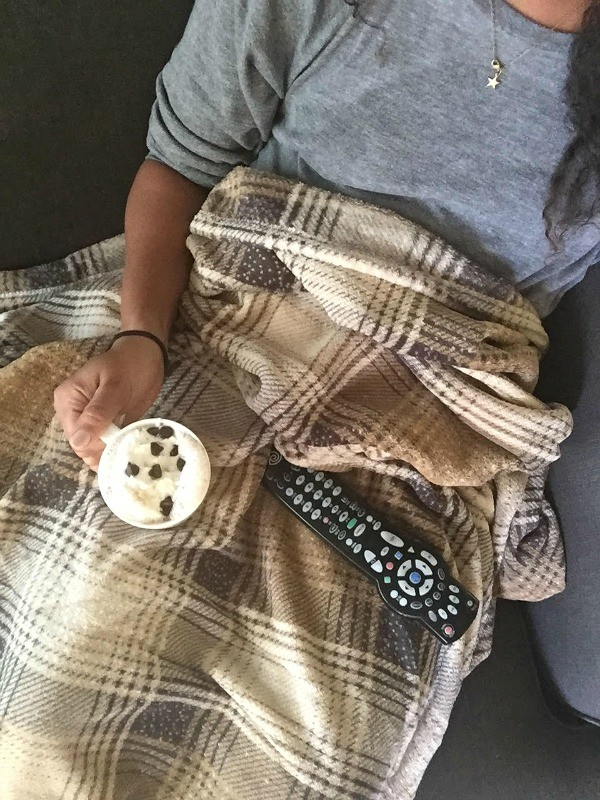 Cozy on the couch with Starbucks® Hot Cocoa K-cup® pods