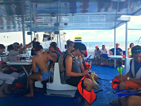 Fury Catamarans Cozumel snorkeling excursion, inside the boat