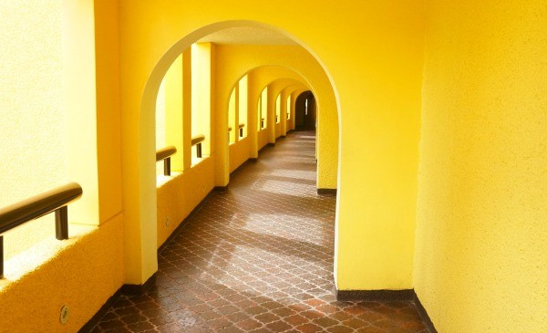 Gorgeous Mexico architecture yellow archway at MELIA Vacation Club Cozumel All Inclusive resorts