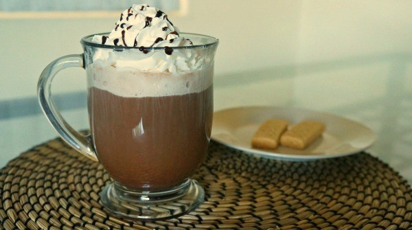 Starbucks® Classic hot cocoa, whipped cream, chocolate syrup
