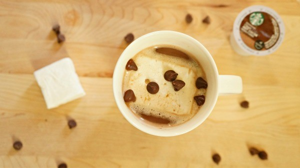 Starbucks Salted Caramel Hot Cocoa with a marshmallow and semi sweet chocolate chips