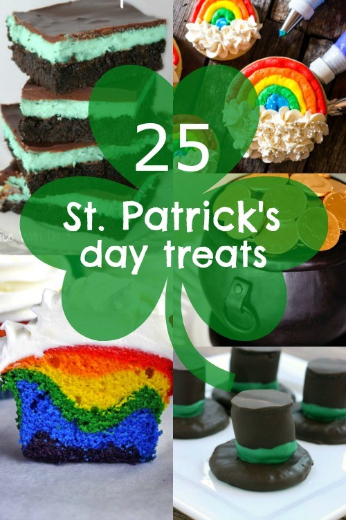 25 Homemade St Patricks Day treats and sweets to try making at home. Love the rainbow cupcakes and the pot of gold cake!
