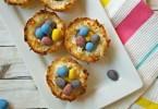 Easter coconut macaroon birds nest cookies