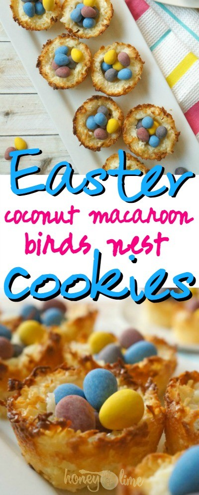 These Easter coconut macaroon birds nest cookies are so cute! What a fun Easter treat, these would be perfect to bring to school or to church events