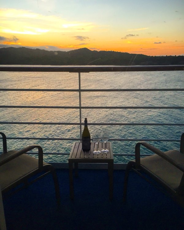 Fathom travel, blacony view at sunset in Amber Cove, Dominican Republic, Adoinia stateroom B106