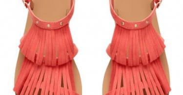 Summer sandals, H&M Coral Pink fringe flat sandals