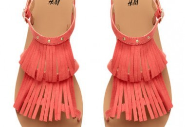 Summer sandals, H&M Coral Pink fringe flat sandals