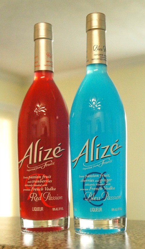 Alize Red Passion and Bleu Passion Liqueur bottles