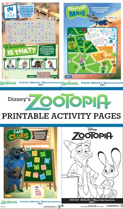 Disney's ZOOTOPIA printable coloring pages and activity sheets - Keep the kids busy with these fun activites you can print at home, my kids love Judy Hopps, Nick Wilde and Chief Bogo!