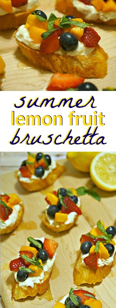 Lemon fruit bruschetta recipe - Lemon cream cheese, summer fruits, and honey on a toasted baguette, this is one of our favorite summer appetizer ideas! | bruschetta recipe appetizers | easy bruschetta recipes | best bruschetta recipe | best bruschetta ever | fruit appetizer recipes | honeyandlime.co