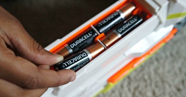 NERF N-Strike Blasters use Duracell AA batteries to power them up