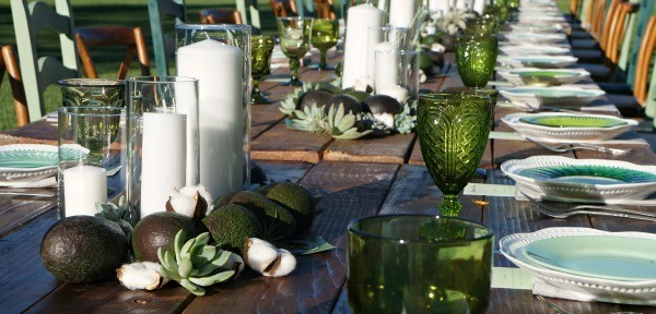 California avocados, love this avocado themed centerpiece with candles and succulents, so cute for summer outdoor dining!