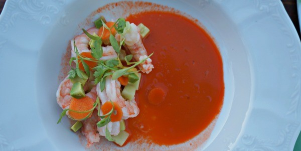 Chilled shrimp appetizer with California avocados and a spicy carrot dressing