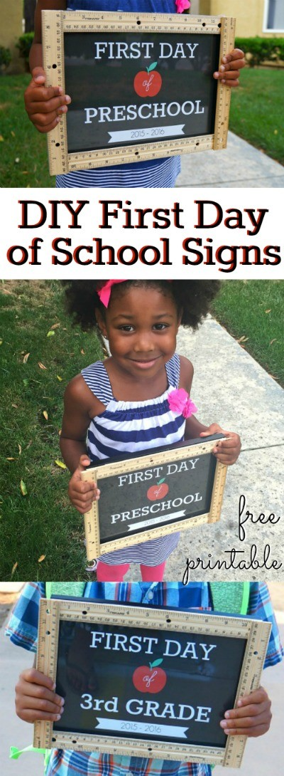 DIY first day of school signs chalkboard for all grades - the kids are getting ready to go back to school and these free printable signs are perfect for first day pictures! Pre-K-12th grade