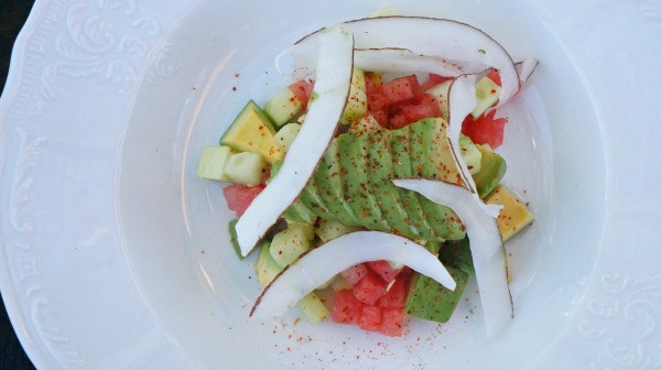 Fresh avocado, cucumber and tomato salad made with California avocados