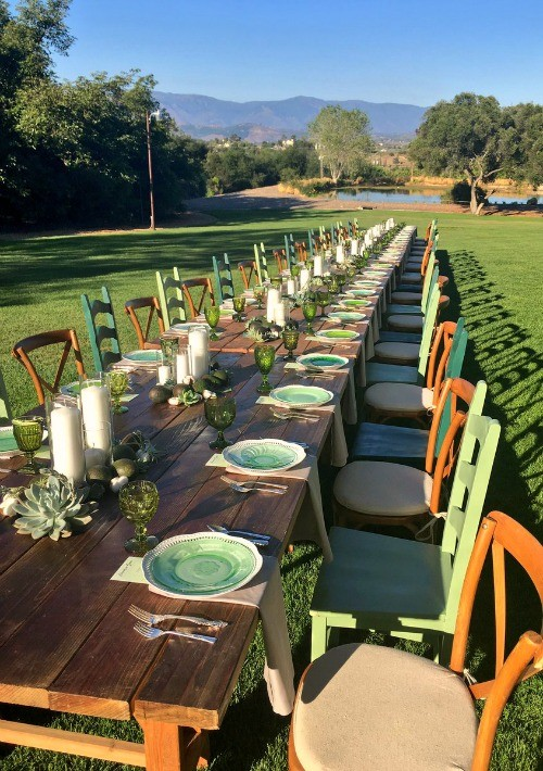 Gorgeous long wooden tablescape for dinner at Rancho Santo Tomas avocado grove in Valley Center, California