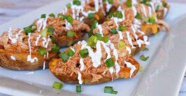 Loaded barbecue chicken potato skins recipe, love this appetizer!