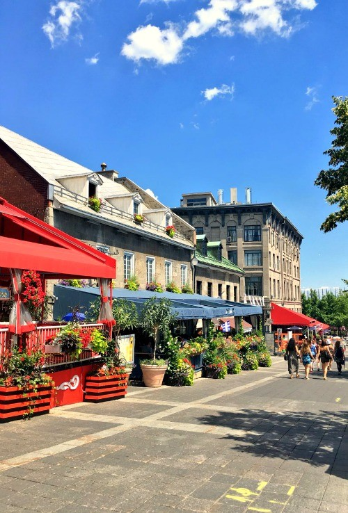 Montreal, Quebec - Colorful buildings on a street in Old Montreal