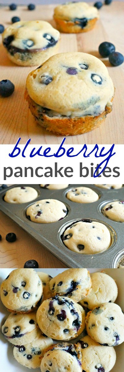 Blueberry pancake bites - these blueberry pancake recipe are the perfect make ahead breakfast ideas for busy back to school mornings!