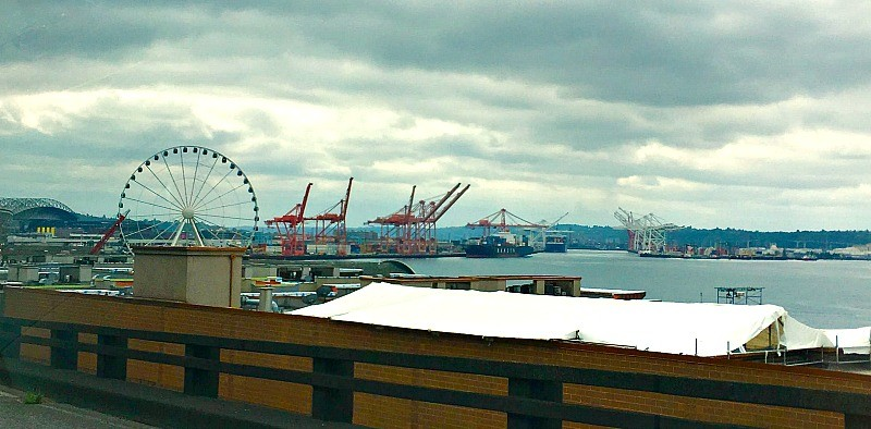 View of Seattle Waterfront and the Seattle Great Wheel