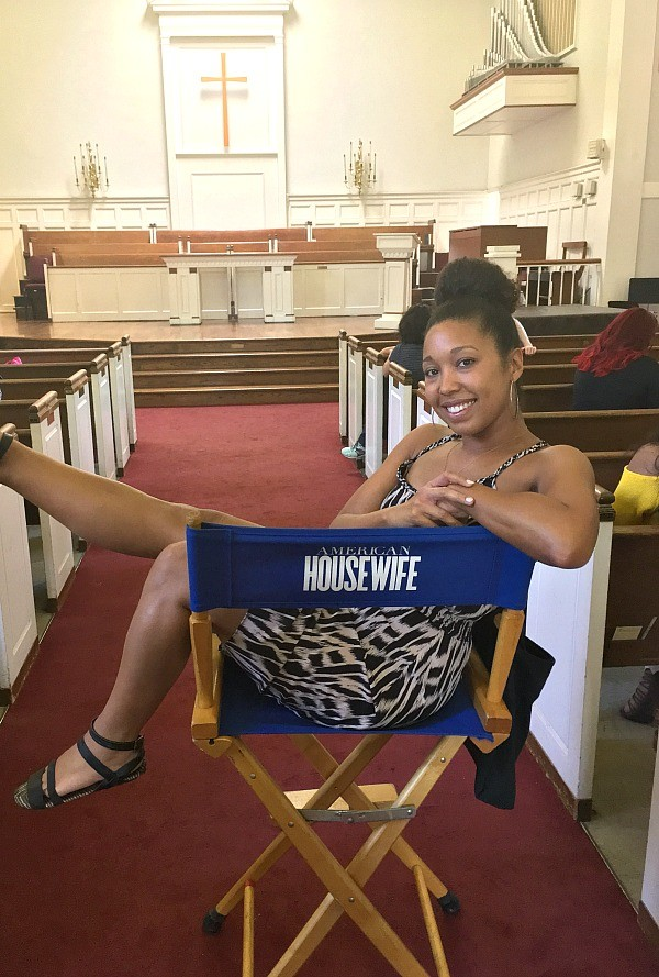 On the set of ABC's American Housewife tv show, Deanna Underwood in the directors chair!