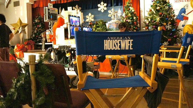 On the set of ABC's American Housewife tv show, the directors chair