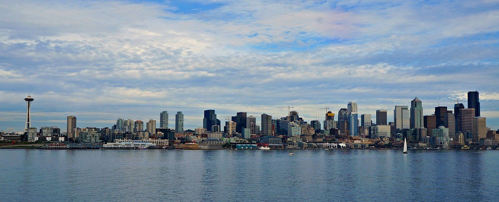 Returning from a day trip to Bainbridge Island, The Seattle skyline along Elliott Bay as seen from the Washington State Ferry