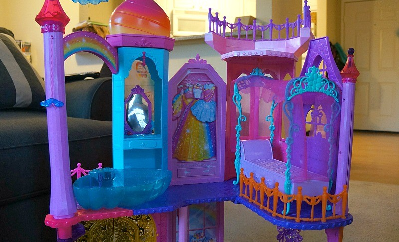 The Barbie® Rainbow Cove™ Princess Castle Playset, top floor has a dream bed and a shell hot tub
