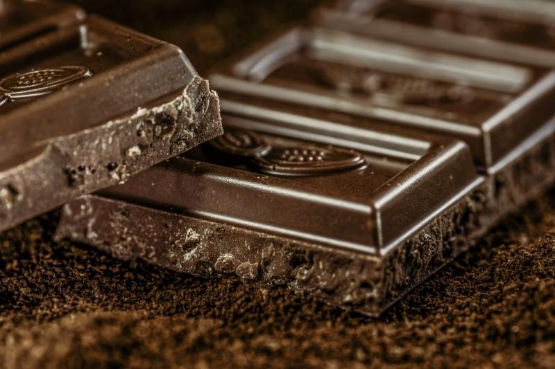 dark chocolate pieces and cocoa powder photo