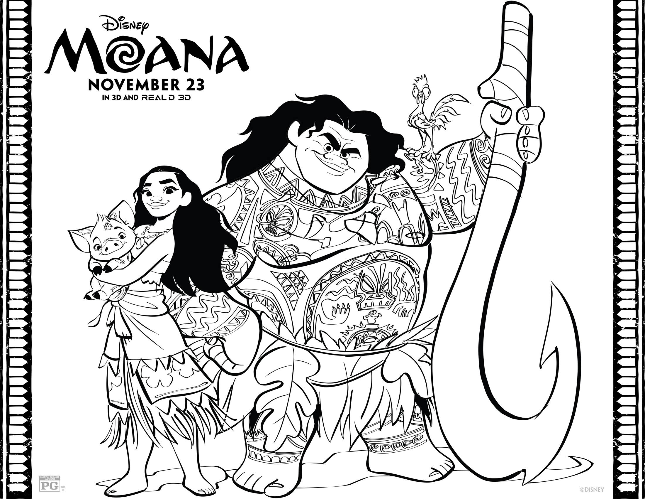 Disneys Moana Coloring Pages and Activity Sheets Printables