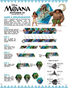 Disney's Moana coloring pages and activity sheets, make a hexaflexagon