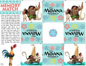 Disney's Moana coloring pages and activity sheets, memory match game