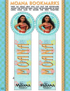 Disney's Moana printable bookmarks