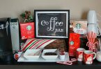 Holiday DIY coffee bar featuring Starbucks Holiday blend K-cup pods